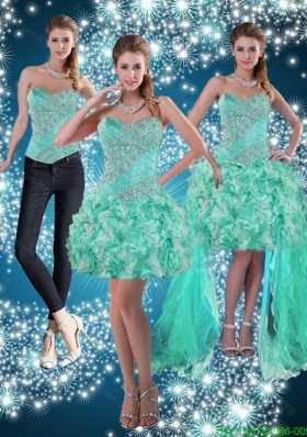 Detachable Apple Green Sweetheart Beading Beautiful Prom Dresses for 2015