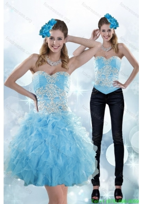 Detachable Appliques and Ruffles Sweetheart Aqua Blue Prom Dress for 2015