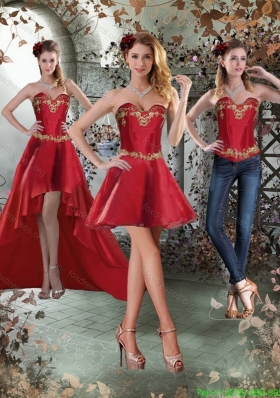 Detachable Sweetheart Embroidery Short Prom Dress for 2015