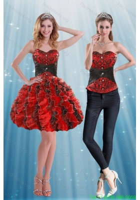 Detachable Sweetheart Prom Dress with Appliques and Ruffles
