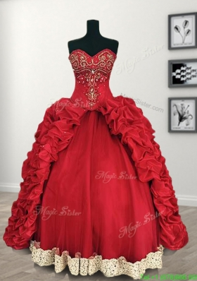 Comfortable Red Big Puffy Quinceanera Dress with Beading and Pick Ups