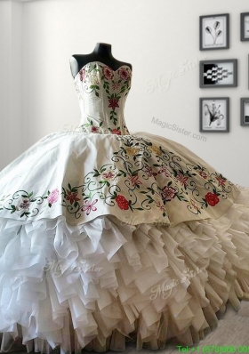 Modern White Big Puffy Quinceanera Dress with Embroidery and Ruffles