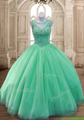Best See Through Scoop Green Sweet 16 Dress with Beading