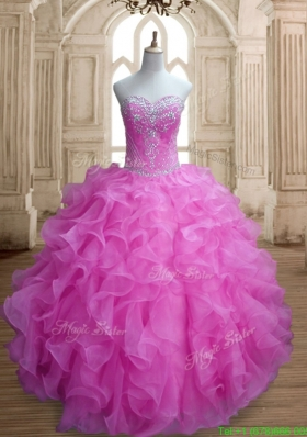 Cheap Lilac Big Puffy Quinceanera Dress with Beading and Ruffles