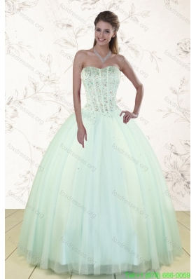 2015 Cheap Light Blue Quinceanera Dresses with Beading