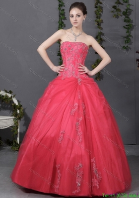 2015 Cheap Strapless Quinceanera Dress with Ruching and Appliques