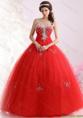 2015 Cheap Sweetheart Red Quinceanera Dresses with Rhinestones