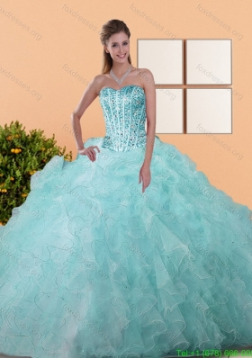 Cheap Beading and Ruffles Ball Gown Quinceanera Dresses for 2015