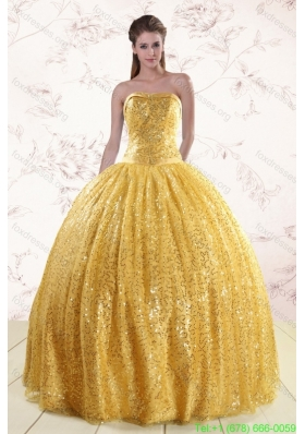 Cheap Gold Sequined Quinceanera Dress with Strapless