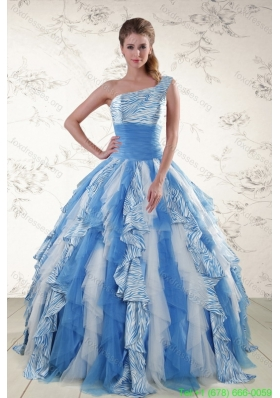 Cheap Multi Color One Shoulder Printed Quinceanera Dresses for 2015