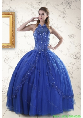 Cheap Royal Blue Quinceanera Dresses with Appliques and Beading for 2015