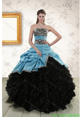 Cheap Ruffles 2015 Quinceanera Dresses with Zebra and Belt