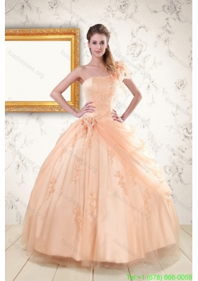 Cheap Tulle Peach One Shoulder 2015 Quinceanera Dresses