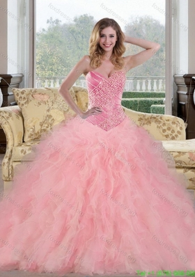 2015 Beautiful Baby Pink Quinceanera Dresses with Beading and Ruffles