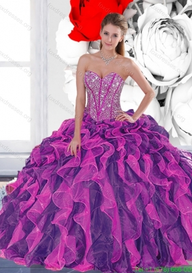 2015 Beautiful Beading and Ruffled Layers Quinceanera Dresses in Multi Color