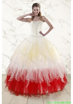 2016 Cheap Multi Color Sweetheart Ruffled Quinceanera Dresses with Beading