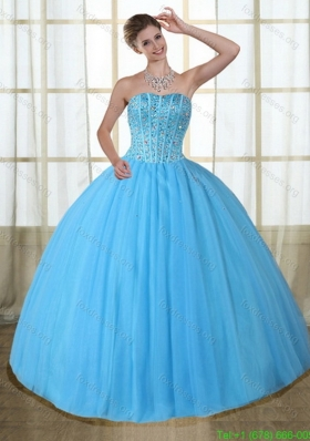 Beautiful Baby Blue Strapless Quinceanera Dresses with Beading