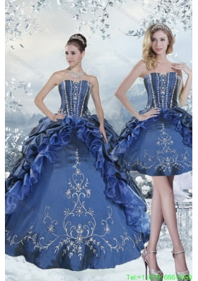 Beautiful Embroidery and Beading Blue Quinceanera Dresses for 2015