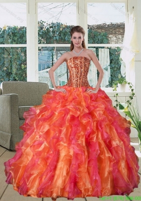 Beautiful Multi Color Strapless Quinceanera Dress with Beading and Ruffles