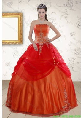 Beautiful Strapless Appliques Quinceanera Dresses in Orange Red