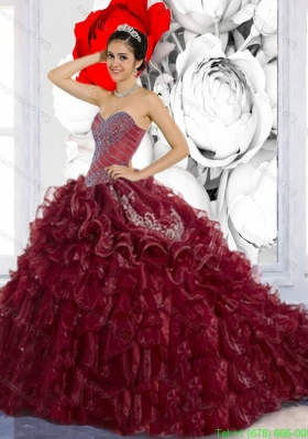 Beautiful Sweetheart Ruffles and Appliques Quinceanera Dresses for 2015