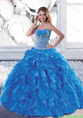 Beautiful Sweetheart Teal Quinceanera Dresses with Appliques and Ruffles
