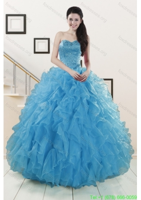 Cheap Beaded Quinceanera Dresses Ruffled in Blue