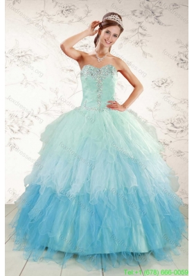 Cheap Multi Color 2015 Quinceanera Dresses with Beading and Ruffles