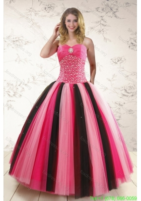 Cheap Multi-color Quinceanera Dresses with Beading for 2015