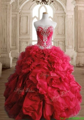 Luxurious Red Big Puffy Sweet 16 Dress with Beading and Ruffles