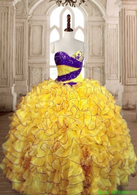 Pretty Ball Gown Yellow Quinceanera Dress with Beading and Ruffles