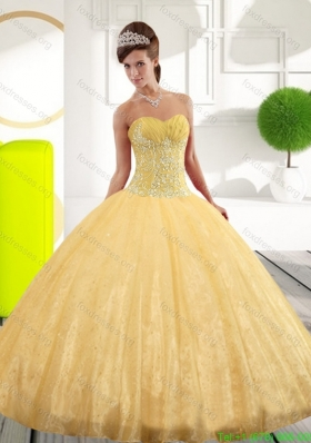 Discount Sweetheart Appliques Gold Quinceanera Dresses for 2015 Spring