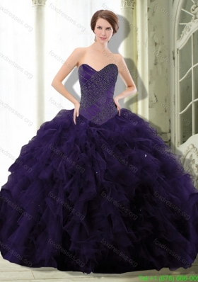 2015 Discount Dark Purple Quinceanera Dress with Beading and Ruffle