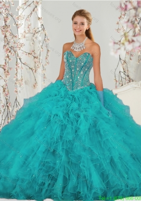 2015 New Style Beading and Ruffles Sweet 15 Dresses in Turquoise