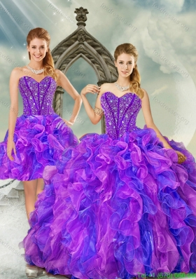 2015 New Style Sweetheart Dresses for Quince with Beading and Ruffles