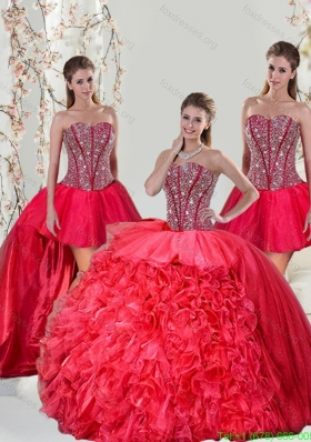Beading and Ruffles Red Detachable and New Style Quinceanera Dresses for 2015