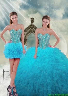 New Style Beading and Ruffles Turquoise 2015 Dresses For Quince