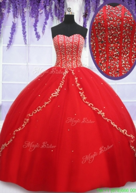 2017 Cheap Visible Boning Applique and Beaded Bodice Quinceanera Dress in Red