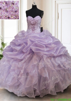 2017 Luxurious Organza Lavender Sweet 16 Dress with Bubbles and Ruffles