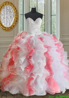 2017 Popular Brush Train White and Coral Red Quinceanera Dress with Beading and Ruffles
