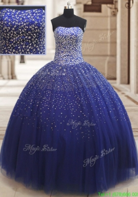 2017 Popular Really Puffy Beaded Bodice Tulle Quinceanera Dress in Royal Blue