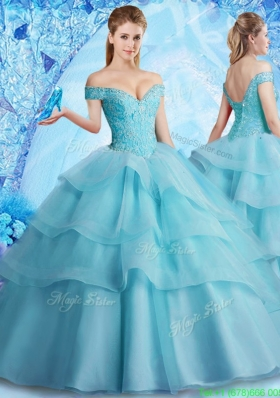 2017 Pretty Brush Train Quinceanera Dress with Beading and Ruffled Layers