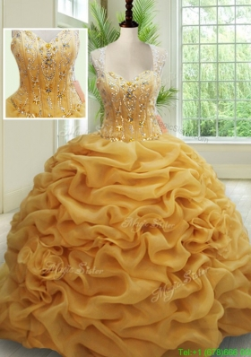 2017 Visible Boning See Through Back Brush Train Beaded Quinceanera Dress in Gold