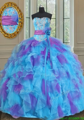 Best Sweetheart Organza Blue and Purple Quinceanera Gown with Handmade Flower