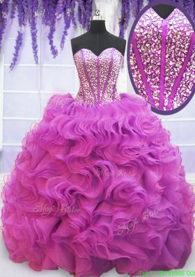 Sweet Visible Boning Beaded Bodice Ruffled Quinceanera Dress with Brush Train