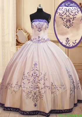 Zipper Up Strapless Embroideried and Beaded Quinceanera Dress in Satin