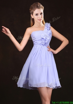 2017 Elegant Ruched and Ruffled Lavender Chiffon Prom Dress