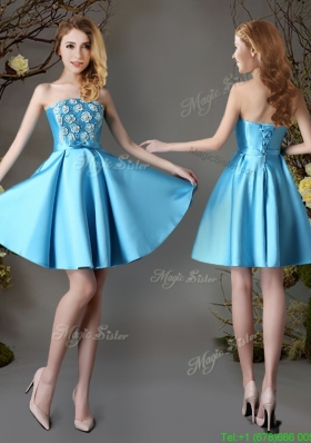 2017 Hot Sale Strapless Appliques and Bowknot Short Prom Dress in Baby Blue