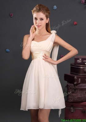 2017 Low Price One Shoulder Champagne Prom Dress in Chiffon