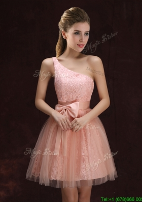 2017 Modest A Line One Shoulder Laced Short Prom Dress in Pink